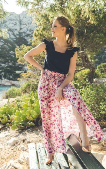 Jupe longue portefeuille rose à fleur demi mesure made in France