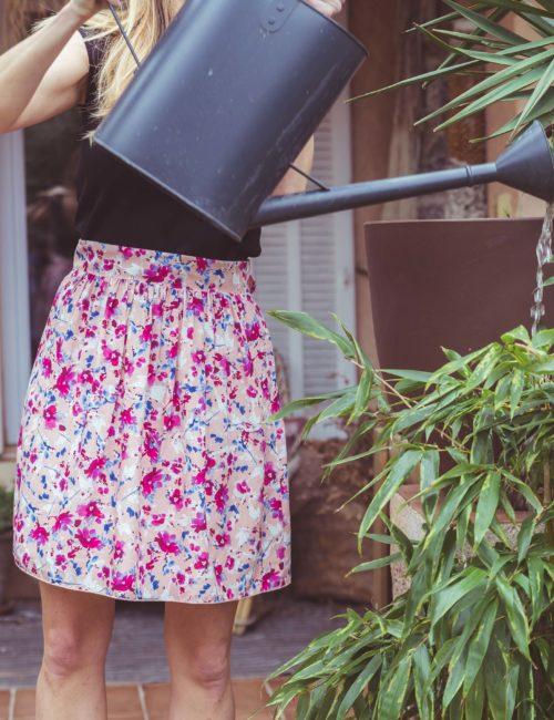 Jupe courte fleur demi mesure made in France