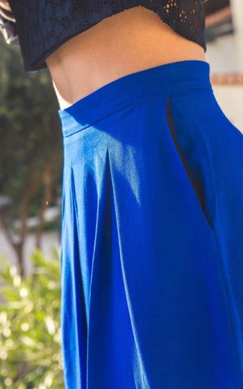 Jupe longue bleu demi mesure made in France