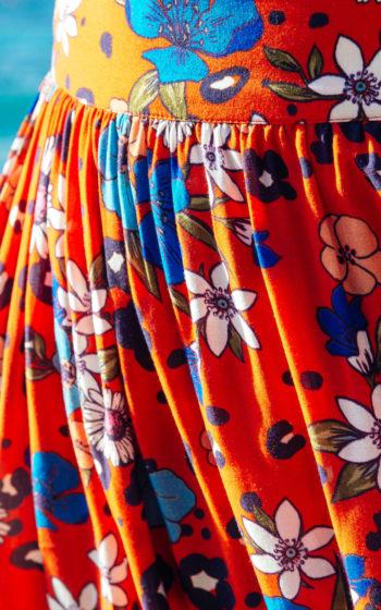 Jupe longue rouge à fleur demi mesure made in France