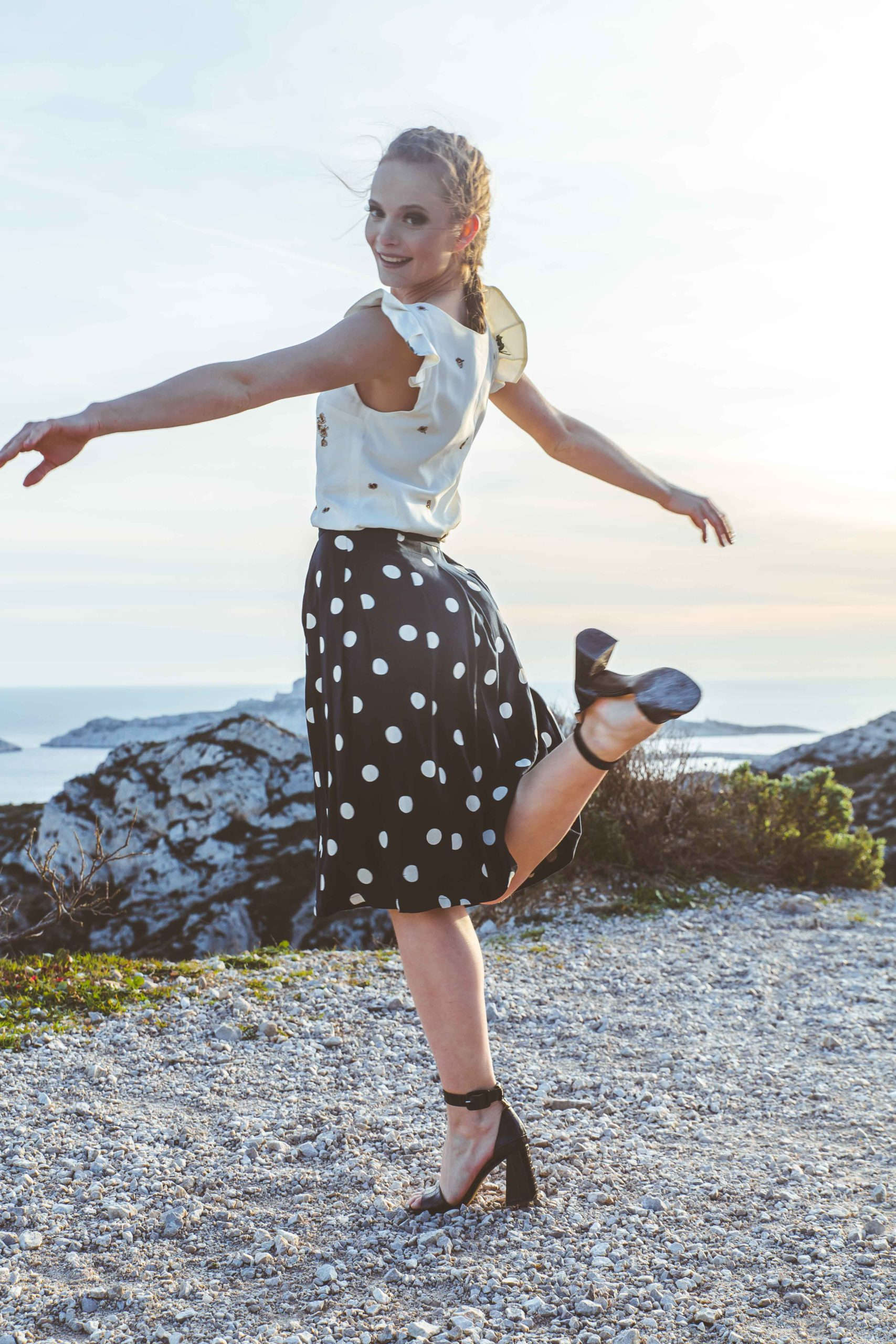 Jupe longue à pois demi mesure made in France