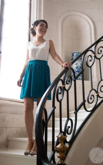 jupe courte bleu canard made in france