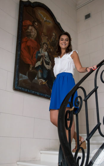 jupe courte bleu électrique made in france
