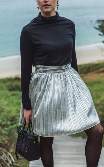 jupe courte plissée argenté, jupe made in France, jupe demi-mesure